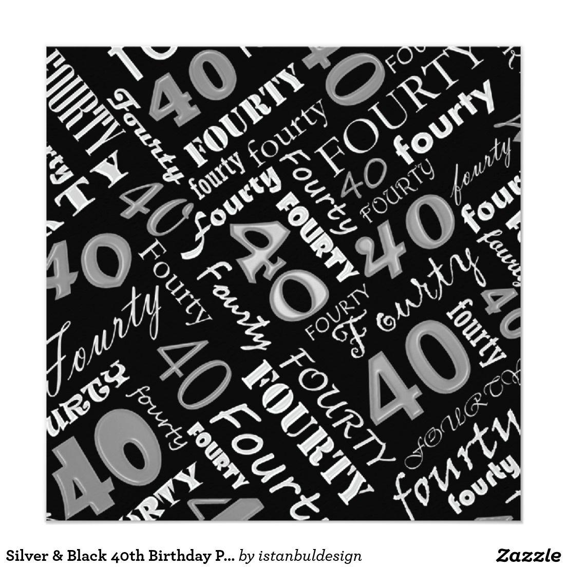 Silver black 40th birthday party invitation birthday party silver black 40th birthday party invitation filmwisefo Choice Image