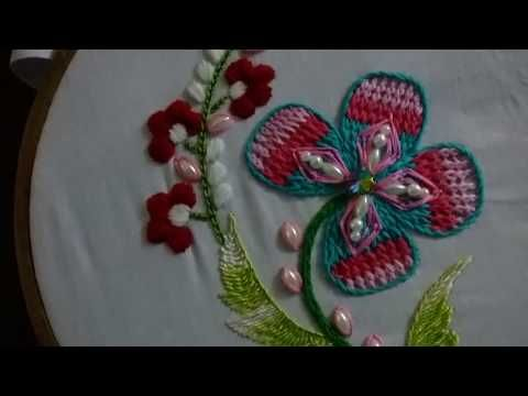 Hand Embroidery Designs Applique Work On Net Cloth Youtube