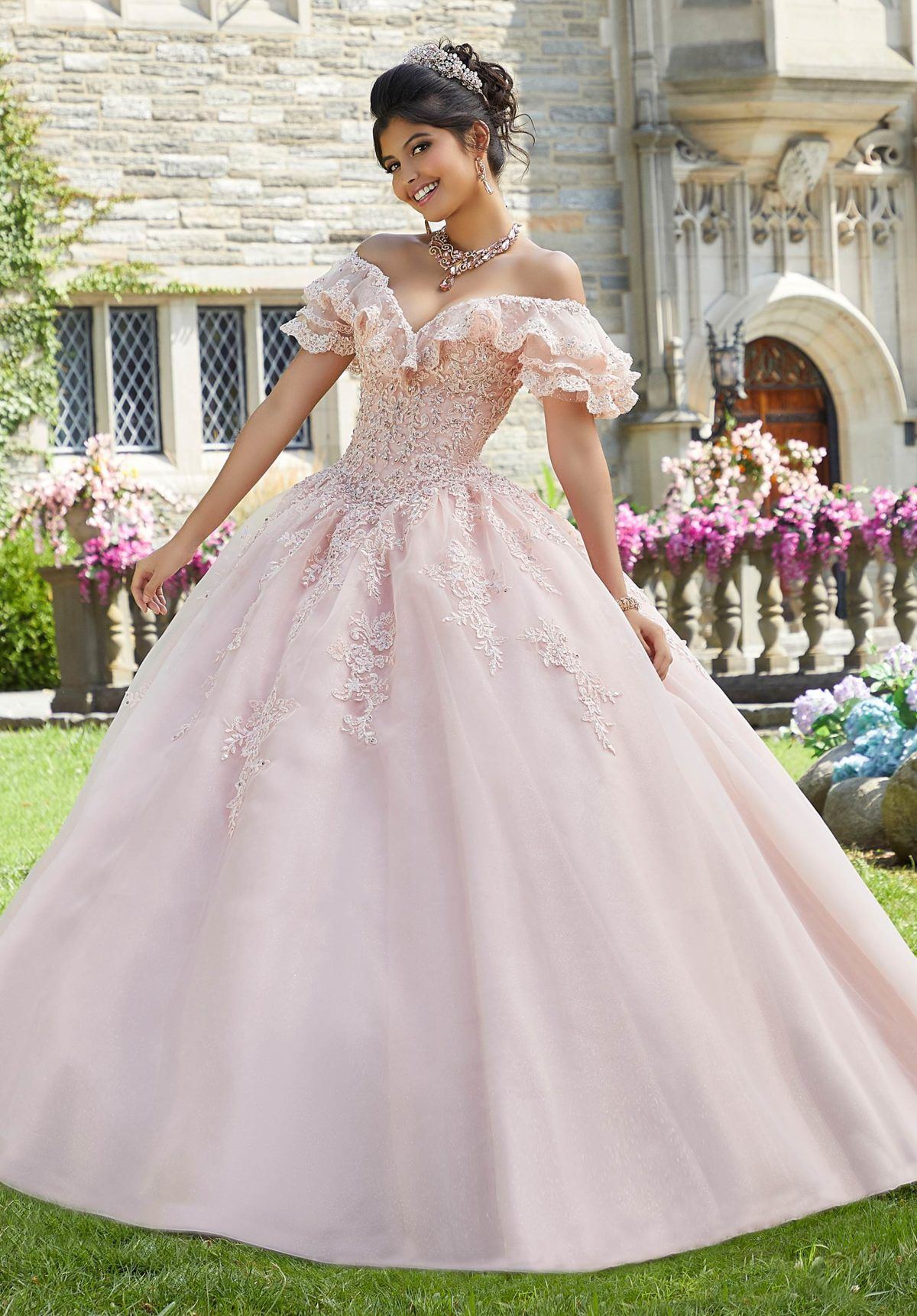 blush off the shoulder quince dress nel 2020   quinceanera