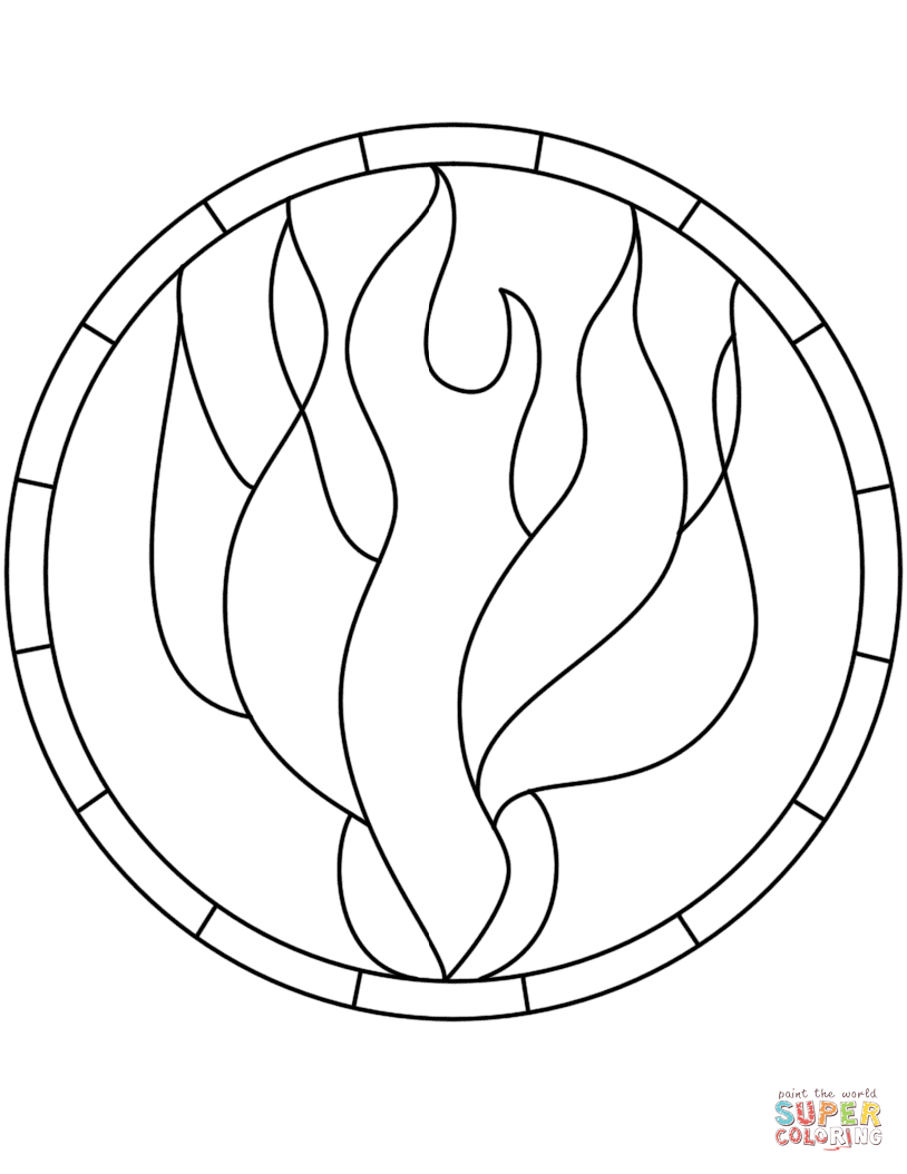 Pentecost Holy Spirit Flame Dove Stained Glass Coloring Page From Stained Glass Category Free Printable Coloring Pages Coloring Pages Printable Coloring Pages