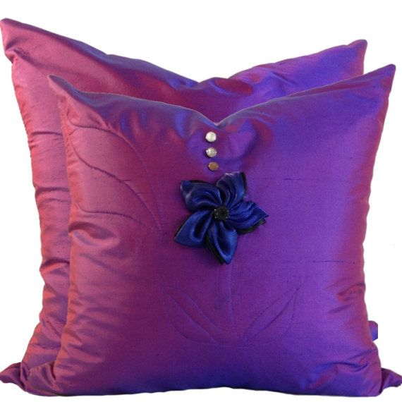 Purple Silk Throw Pillows : Purple Pillow Cover Set in SILK, SILK Throw Pillow Covers, Matching Set of Pillows, 18 x 18, 20 ...