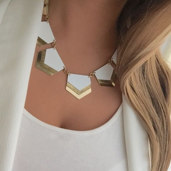 Express chevron necklace Layered white, gold and silver plates create a chevron design. Very unique! Express Jewelry Necklaces