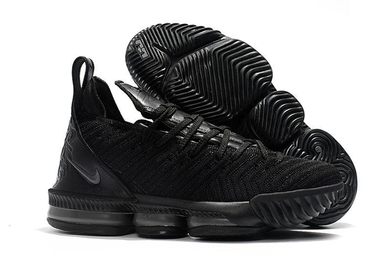 "562683c95bc1d 2018 Nike LeBron 16 ""Triple Black"" Men s Basketball Shoes For Sale ..."