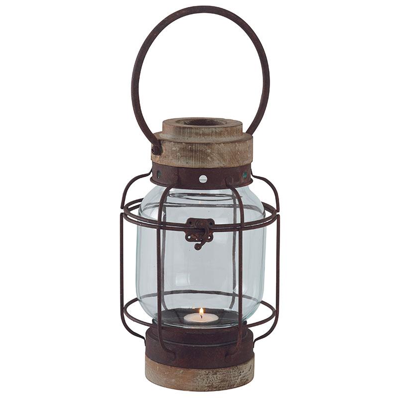 Lanterne Tempete Antique Ottilie En Metal Aspect Vieilli Et Bois Verre Design Lanterne Luminaire Industriel