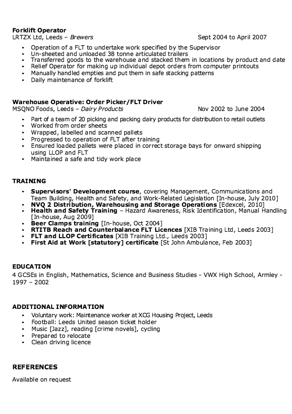 sle of warehouse supervisor resume http
