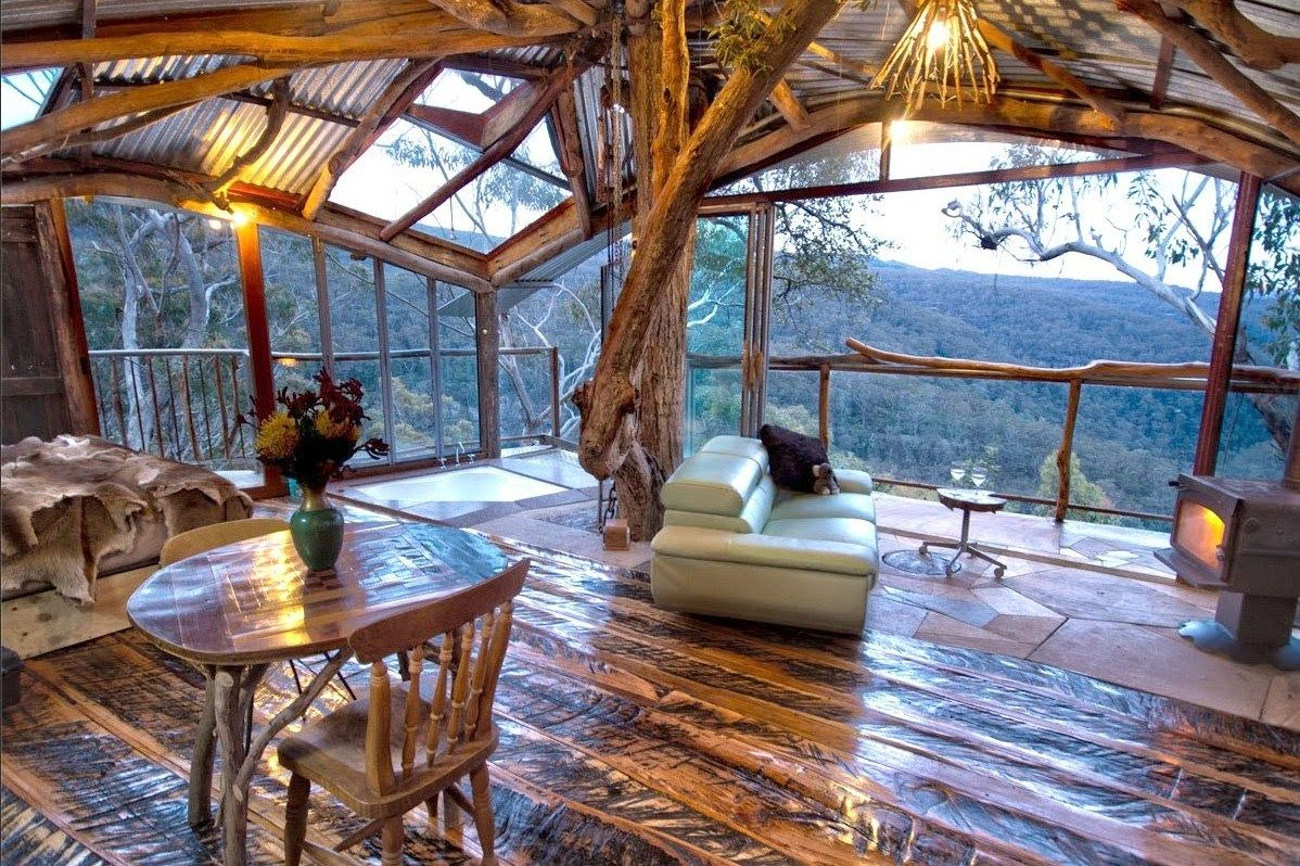 Aussie open-plan living, love it!  Australia Blue Mountains Worlds Best Treehouse Airbnb