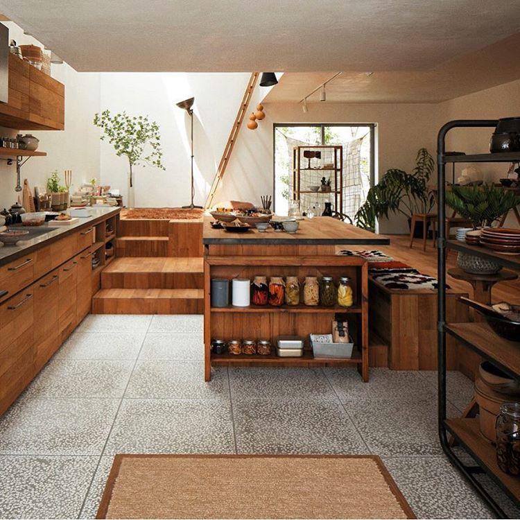 ダウンフロアや吹抜けなどを組み合わせたldkスペース 空間を区切らず 床の高さを変えることで緩やかに居場所をつくった Terra Craft 吹抜けにより 北側でも明るいリビングを実現しました ヘーベルハウス へーベル Home Kitchens House Interior Home