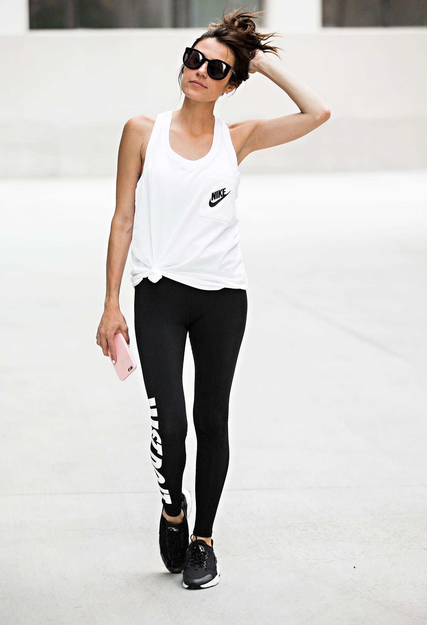 8f86ee1d68f14 Browse the best sporty street style: outfit ideas and inspiration at  @Stylecaster | @hellofashblog's black-and-white nike separates