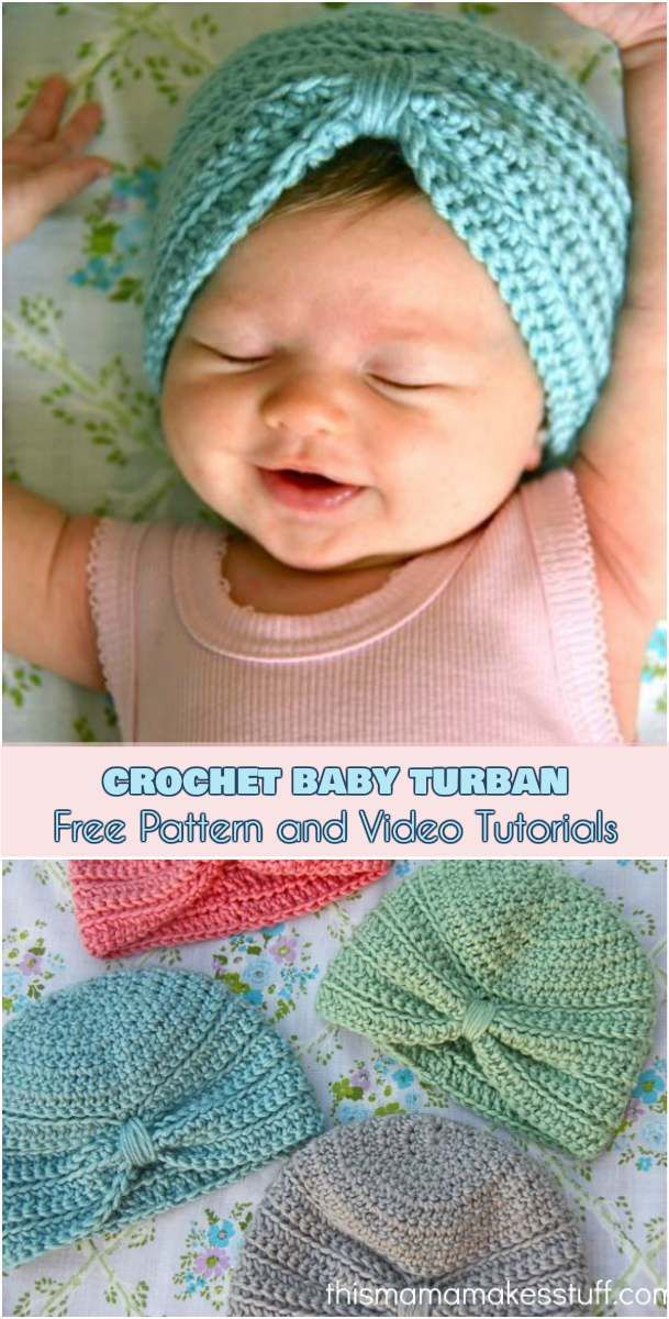 Crochet Baby Turban [Free Pattern and Video Tutorials] | Gorros ...