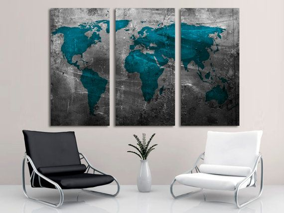 Abstract teal world map 3 panel split triptych by canvasquest art abstract teal world map 3 panel split triptych by canvasquest gumiabroncs Choice Image