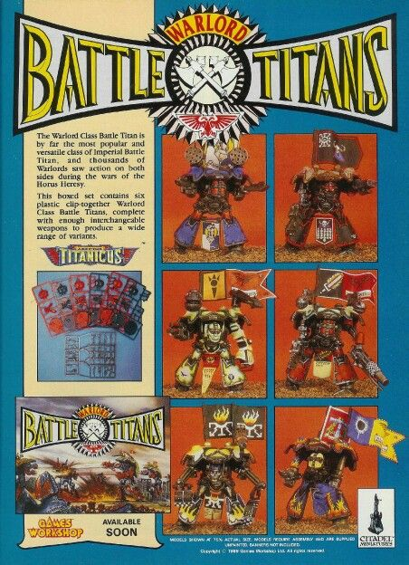 Batlle Titans, original 40k epic scale game, all plastic mechs, Old
