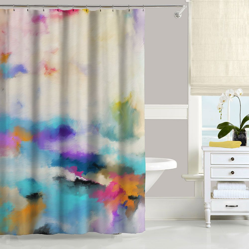 Colorful Shower Curtain Set With Abstract Design In Blue Purple And Yellow Colorful Shower Curtain Abstract Shower Curtain Shower Curtain Art