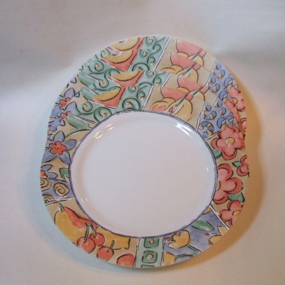 Corelle Watercolors Set 4 Dinner Plates 10.75 Inch Made in USA