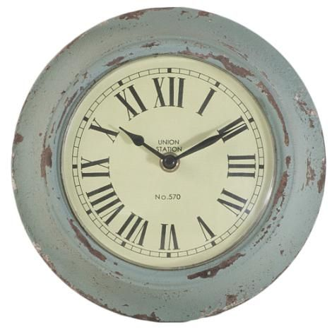 Gisela Graham Distressed Duck Egg Small Metal Wall Clock