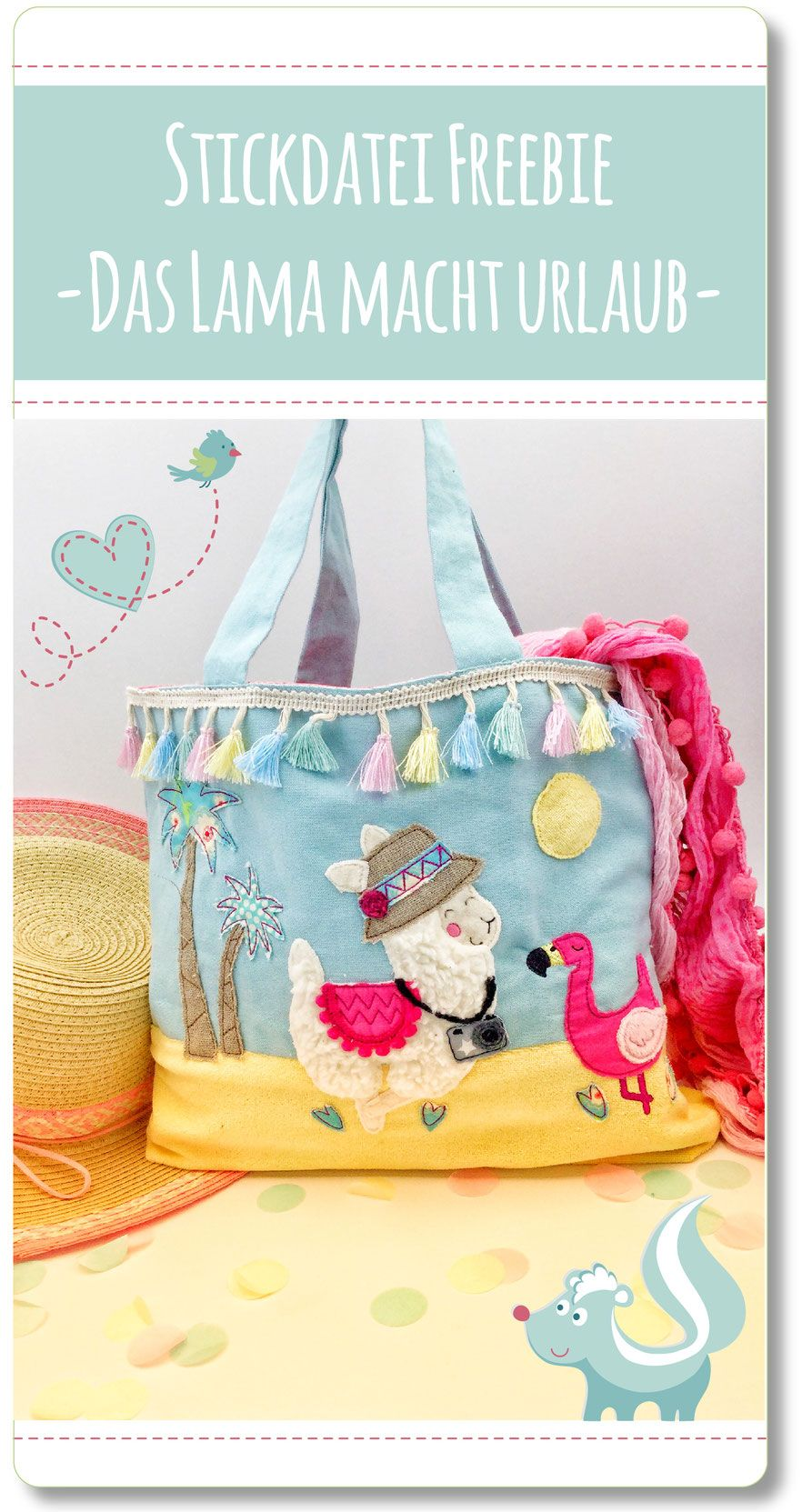 Sticktier Stickdatei Freebie für die Stickmaschine, Lama Stickdatei Freebie von Sticktier #embroiderypatternsbeginner