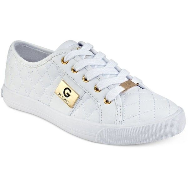 G by Guess Backer Lace-Up Sneakers found on Polyvore featuring polyvore,  women's fashion, shoes, sneakers, white, lace up shoes, lace up sneakers, …