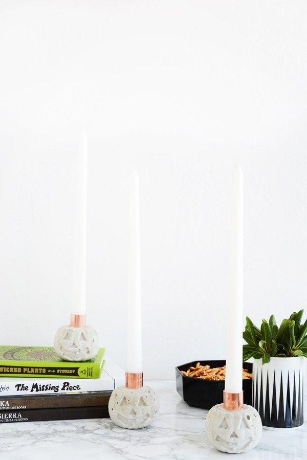 DIY Cement Pumpkin Candle Holders Oleander + Palm Halloween - halloween diy crafts