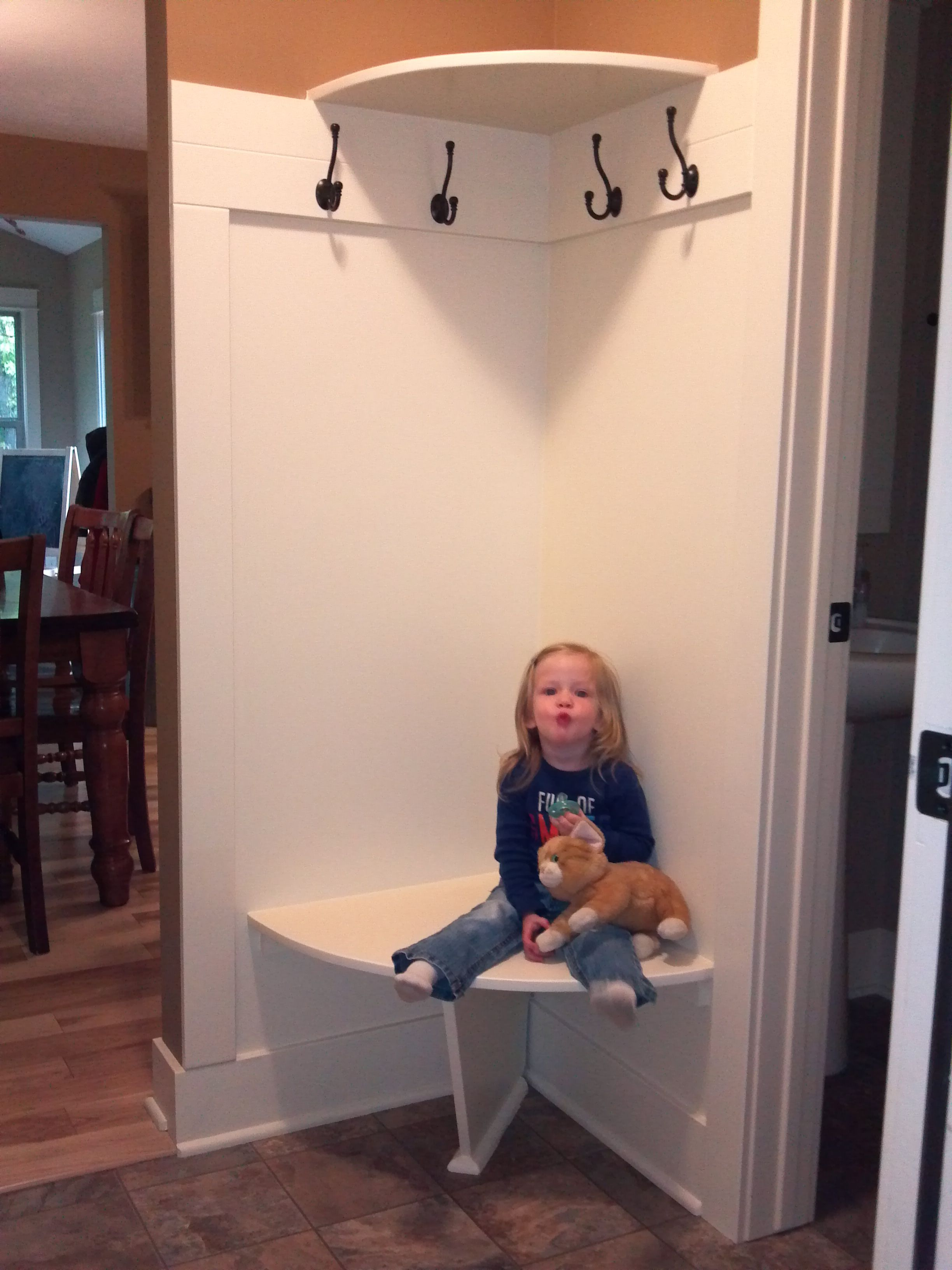 Foyer Corner Bench : Corner bench and shelf for small mudroom the home