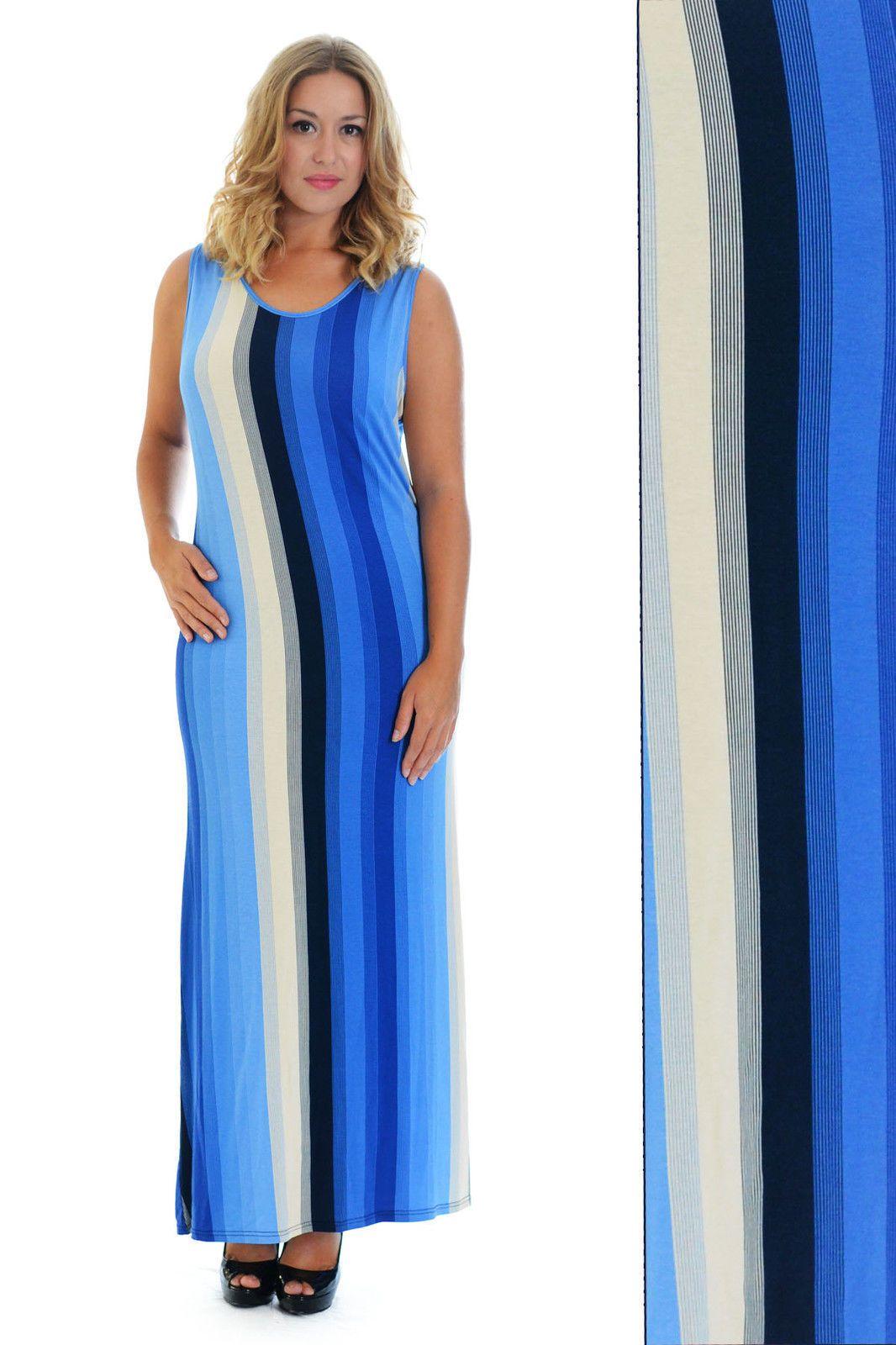 New Womens Maxi Ladies Stripe Print Dress Ankle Length Party Nouvelle Plus Size