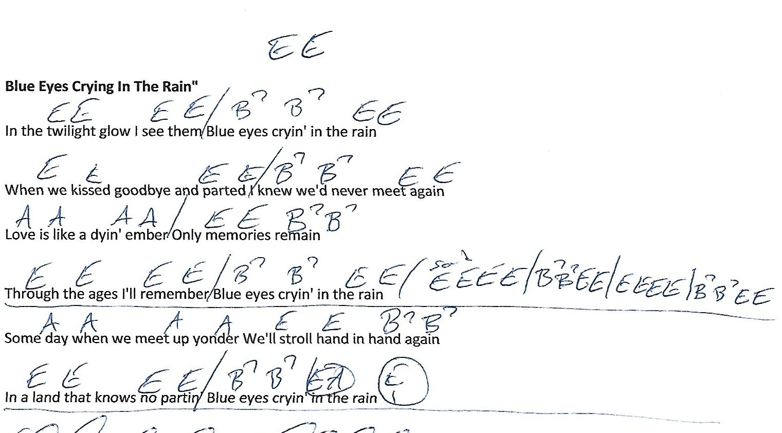 Blue Eyes Crying In The Rain Willie Nelson Guitar Chord Chart