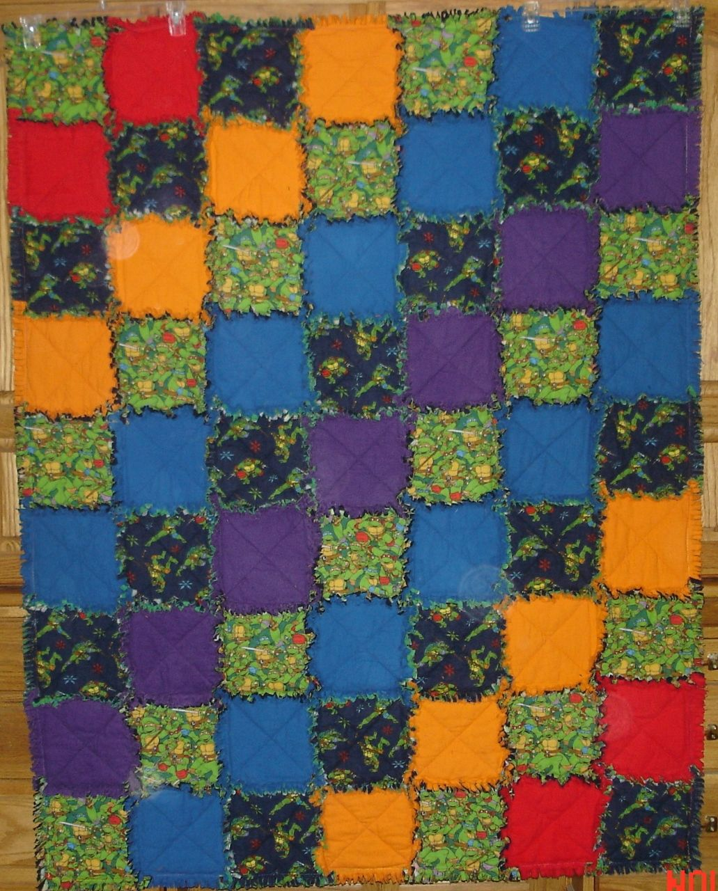 Teenage Mutant Ninja Turtle cotton flannel rag quilt handmade ... : turtle rag quilt - Adamdwight.com