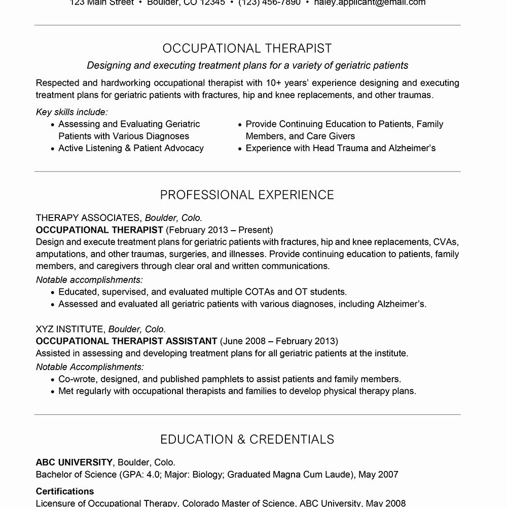23 Occupational therapy Resume Examples in 2020 Teacher