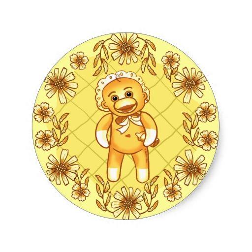 Yellow sock monkey baby classic round sticker
