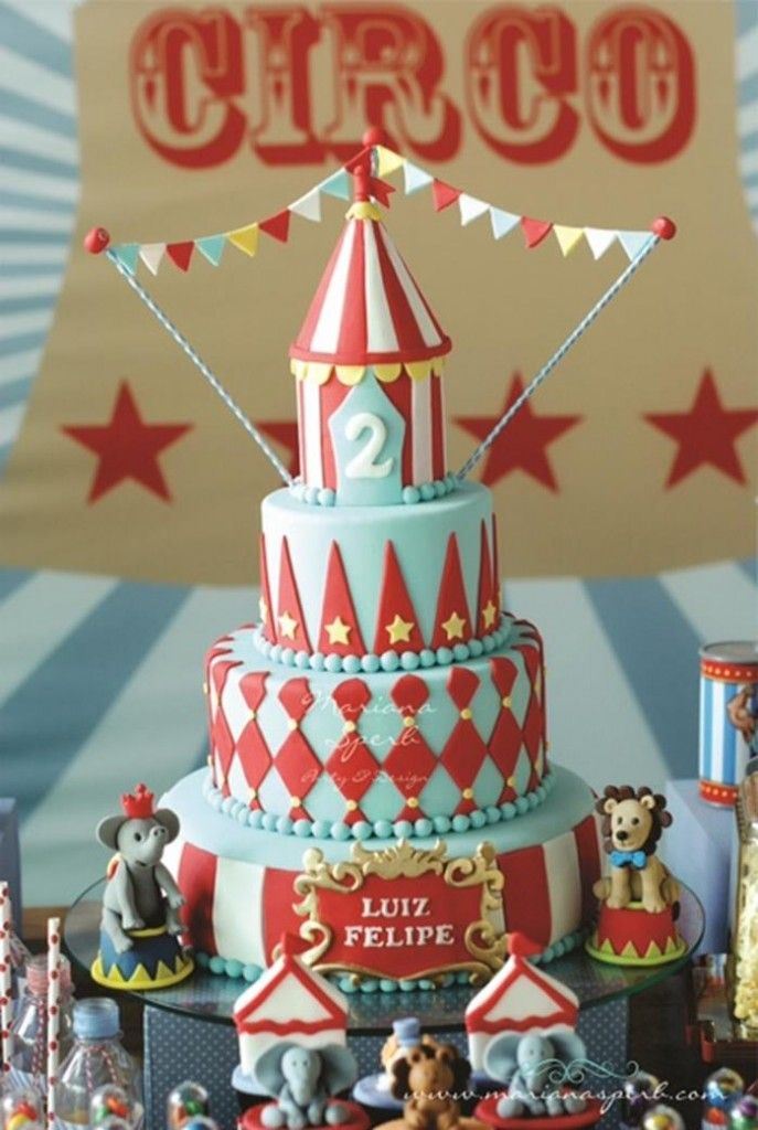 This vintage circus cake would be an impressive addition to any