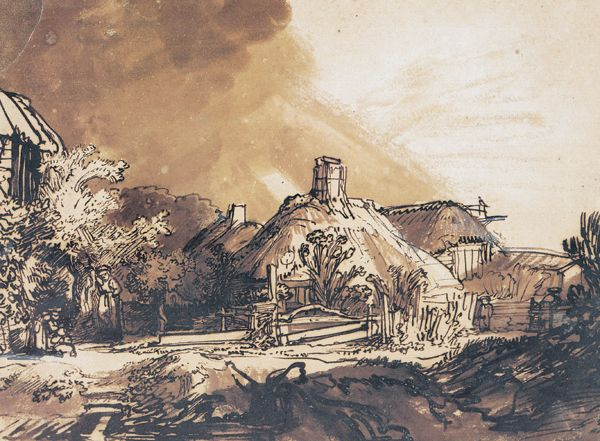 Rembrandt, Cottages Under a Stormy Sky ca. 1635, pen and brown ink, brown and gray wash with white bodycolor on brownish prepared paper, 7? x 9?.  Collection Albertina Museum, Vienna, Austr