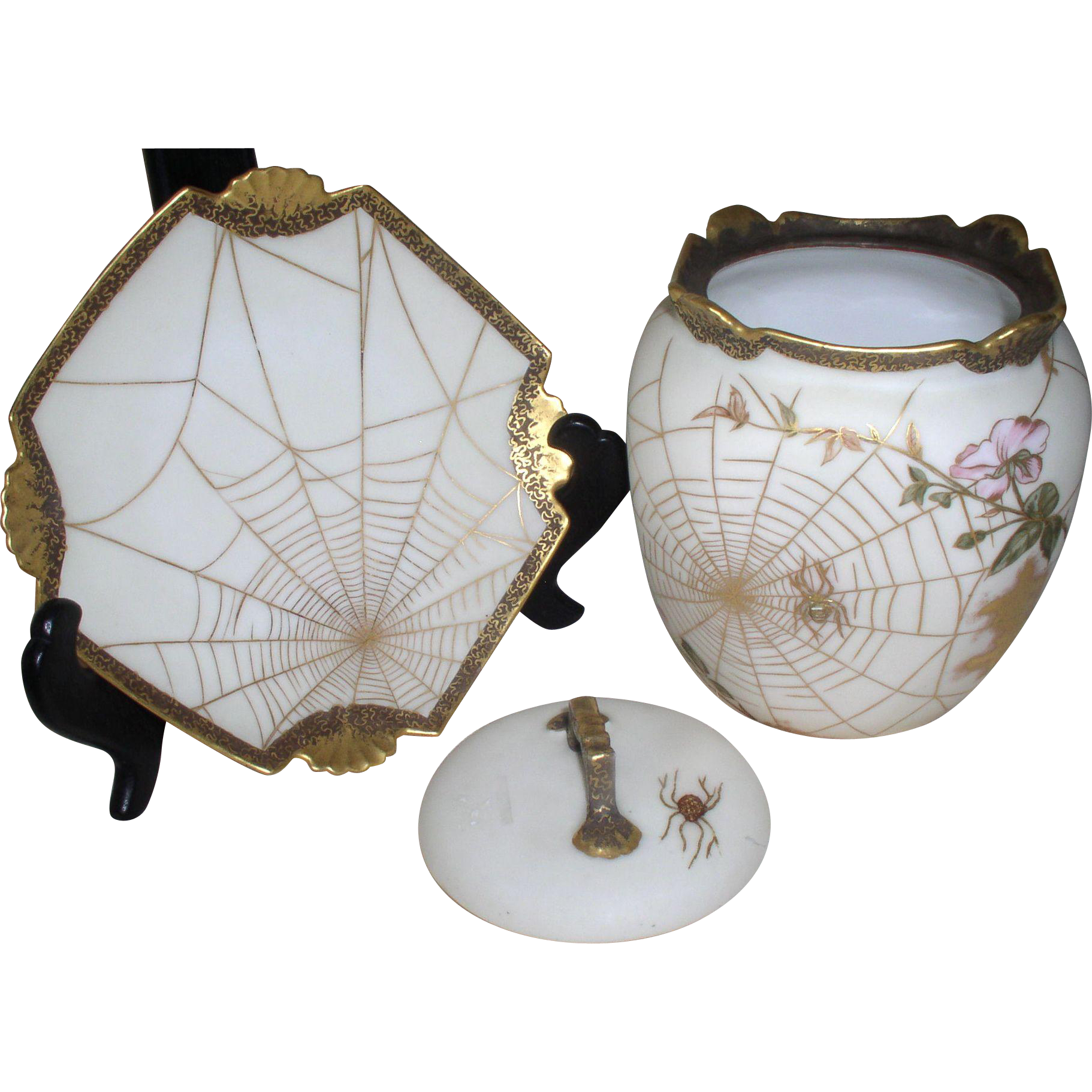 1890s - 1900s Spectacular LIMOGES Artist SGN Fall/Halloween 3 Piece Biscuit Jar - found at www.rubylane.com @rubylanecom
