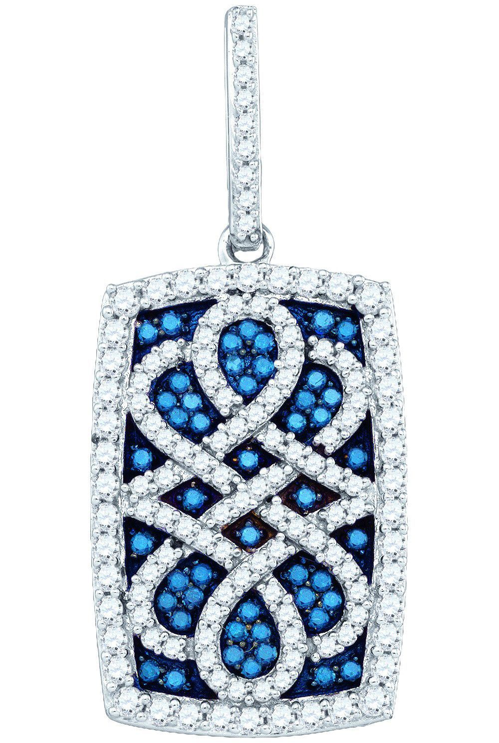 pin pendant cttw diamond womens round colored blue gold cross white