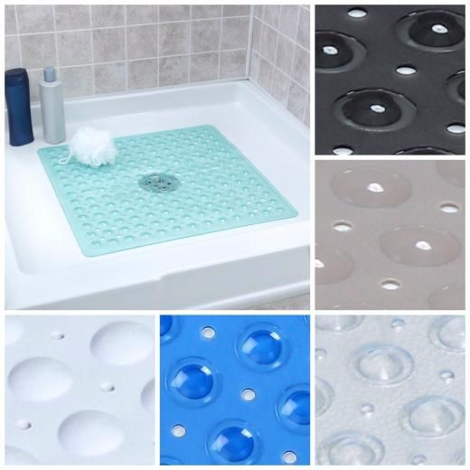 Superior Large Non Slip Shower Mat With Drain Holes: SlipX Solutions Square Shower  Mat