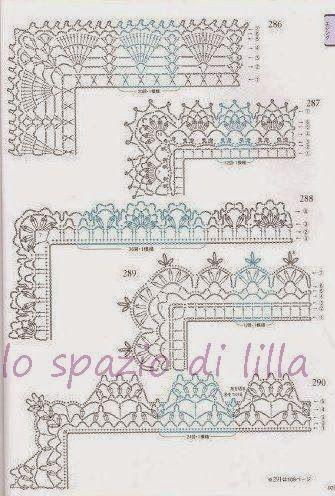 Lo spazio di lilla schemi di bordi crochet con angoli for Merletti all uncinetto schemi