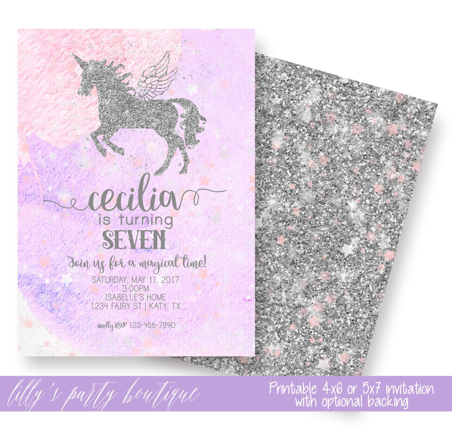 Unicorn Invitation, Unicorn Birthday Invitation, Girl Any Age ...