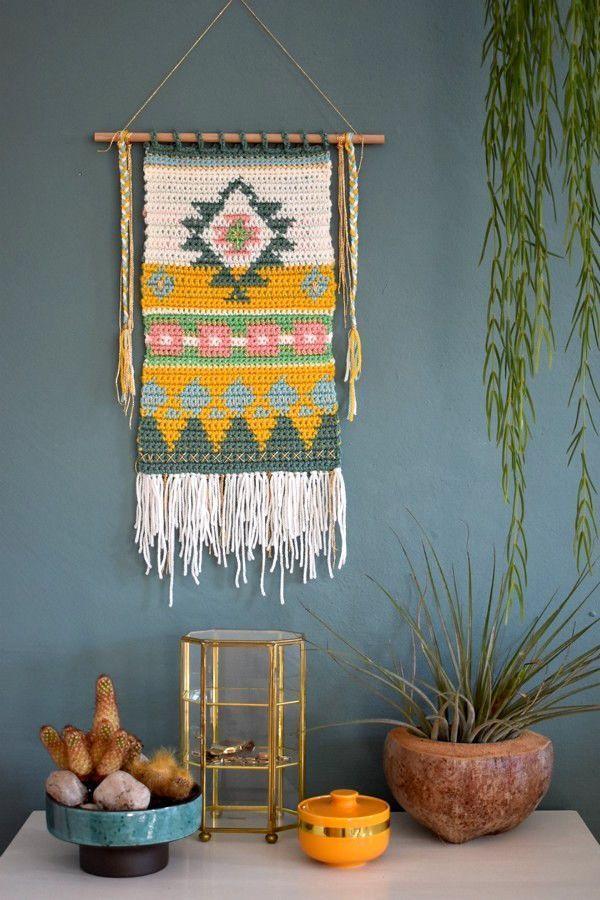 Gehäkelter Wandbehang - ein bisschen Boho, Ethno, Retro - Häkelfieber