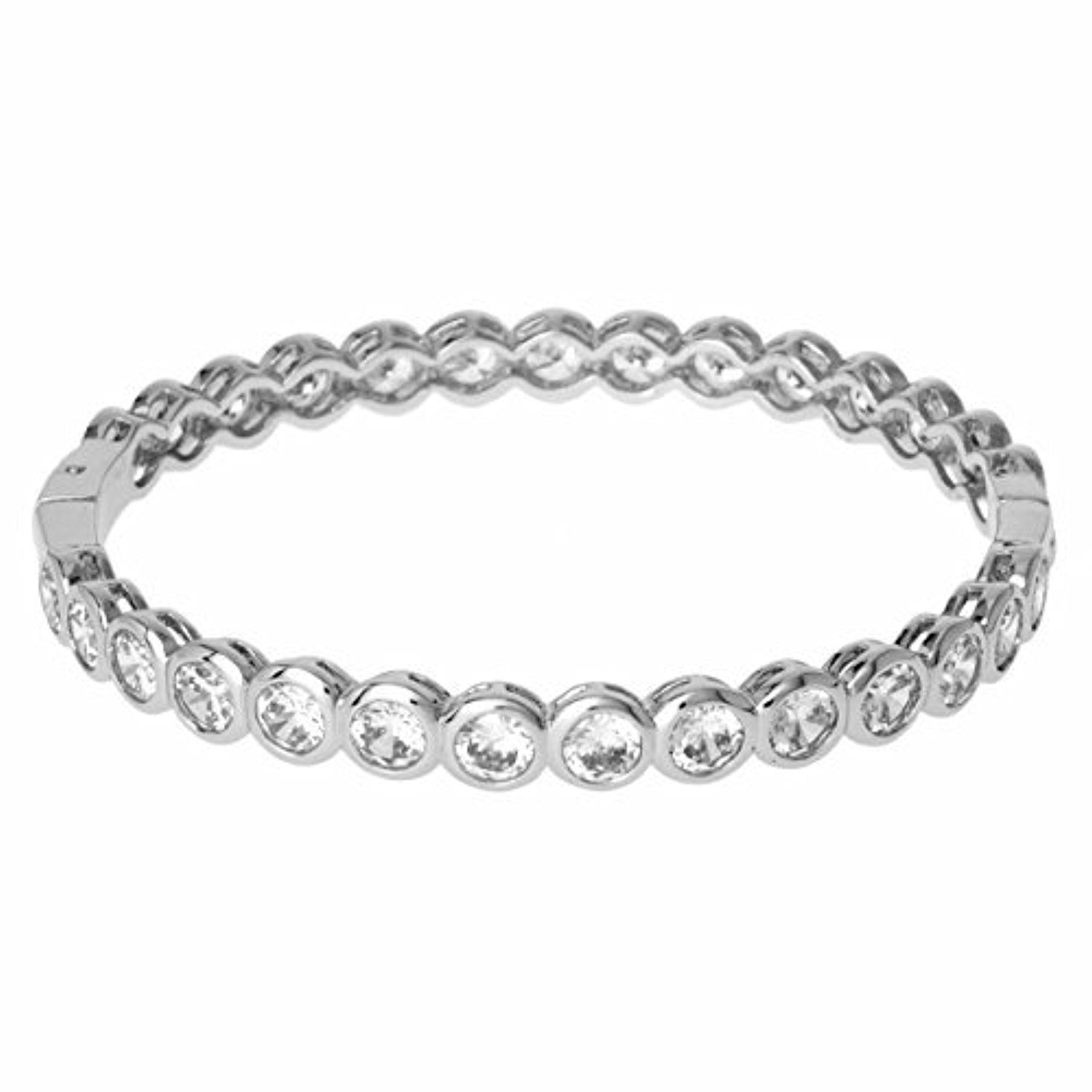 Stainless Steel Cubic Zirconia Bangle Bracelet by Metro Jewelry -- Awesome products selected by Anna Churchill