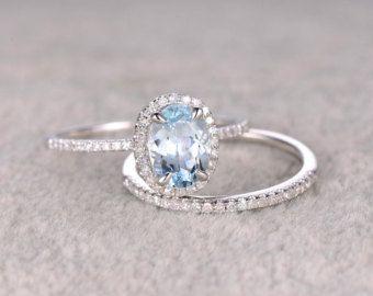 2pcs Blue Aquamarine Wedding Ring Set Engagement By Popring Aquamarine Wedding Ring Diamond Wedding Bands Unique Engagement Rings