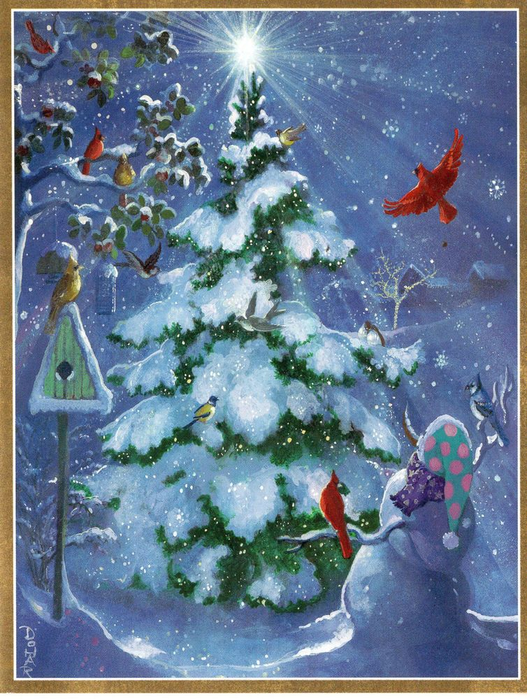 Unused Sample Caspari Christmas Card Christmas Tree with Snowman - christmas greetings sample