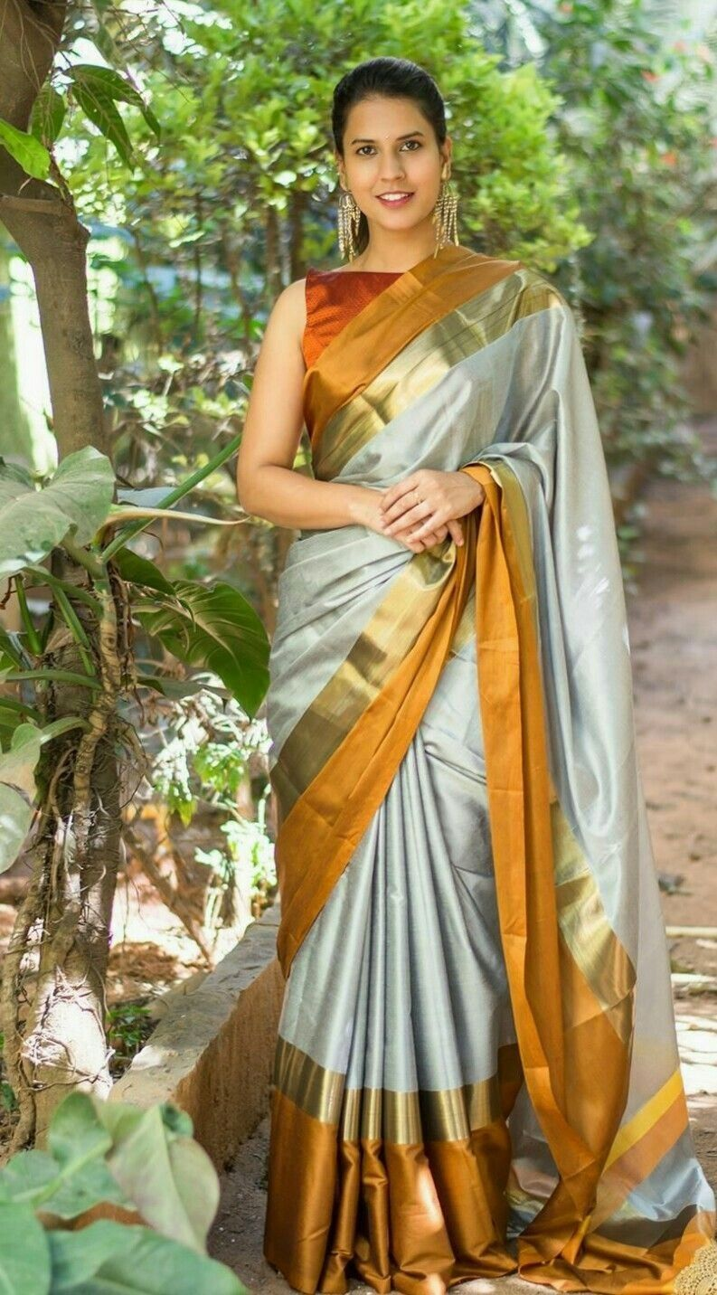 a5a4c2da8 Gold Silk Saree, Soft Silk Sarees, Sari Blouse, Saree Dress, Saree Blouse