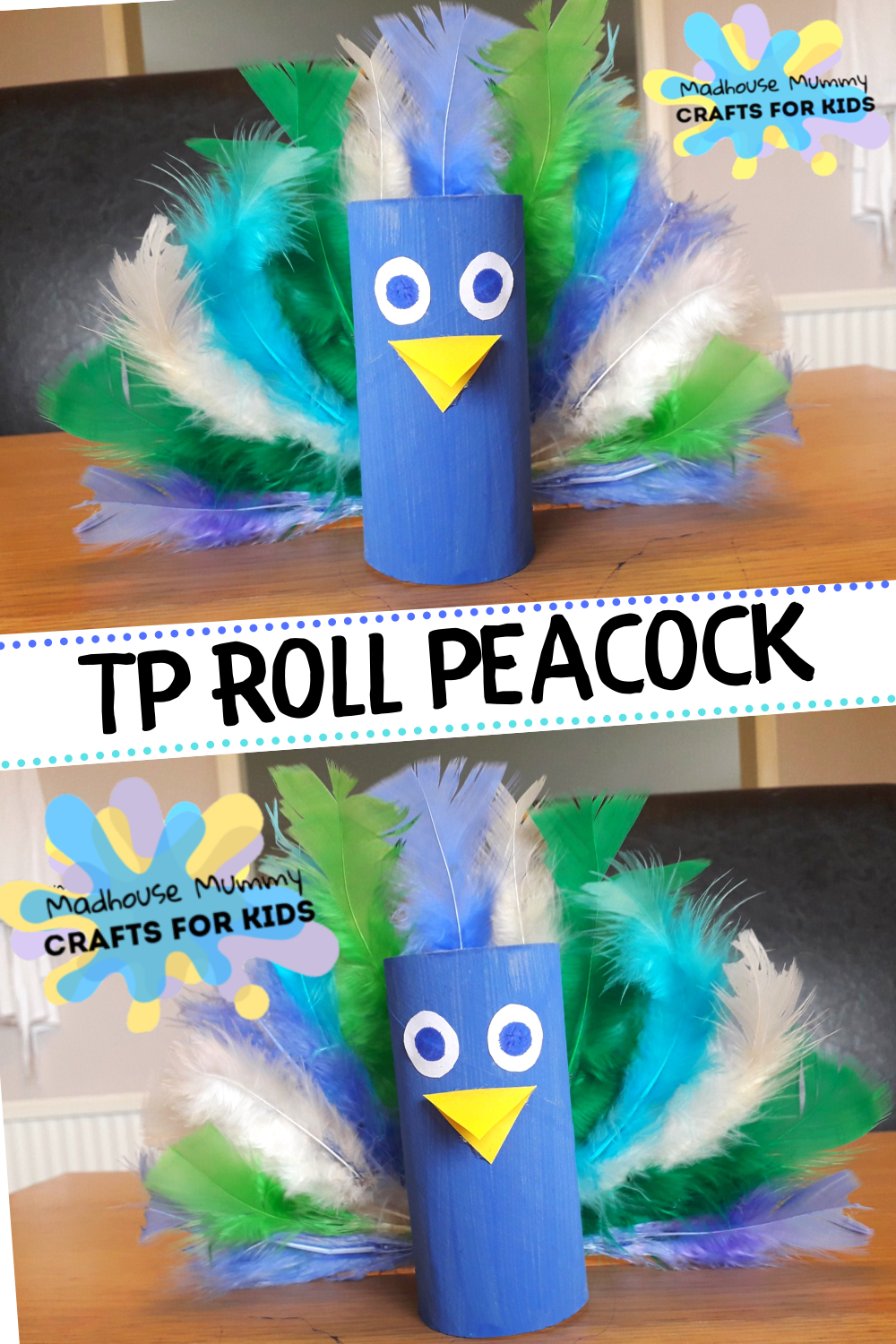 TP Roll/carboard tube peacock animal craft for kids