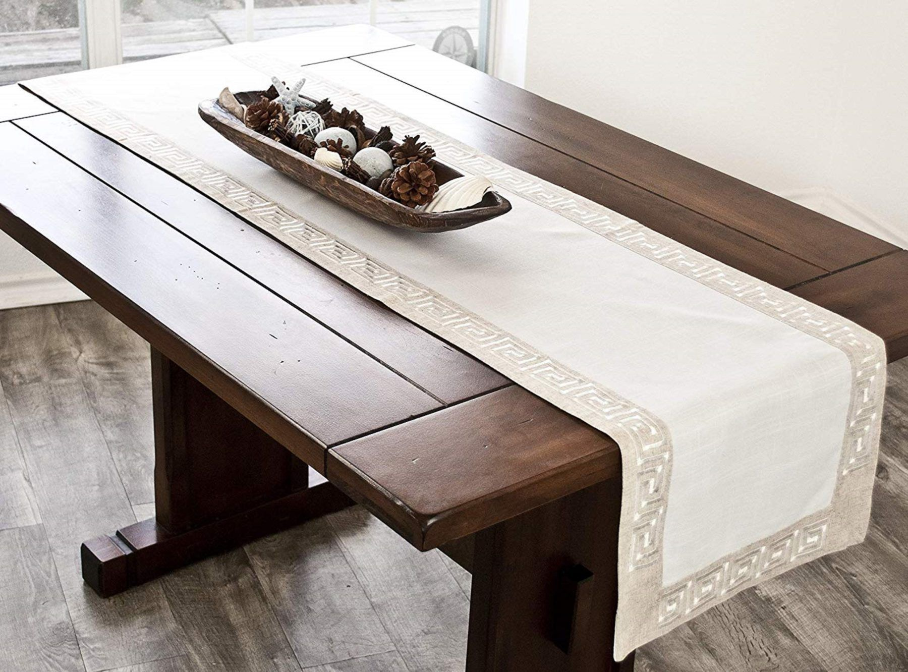 19 95 Natural Beige Earth Tone Greek Key Table Runner In 2020 Elegant Tablecloth Table Runners Colorful Table