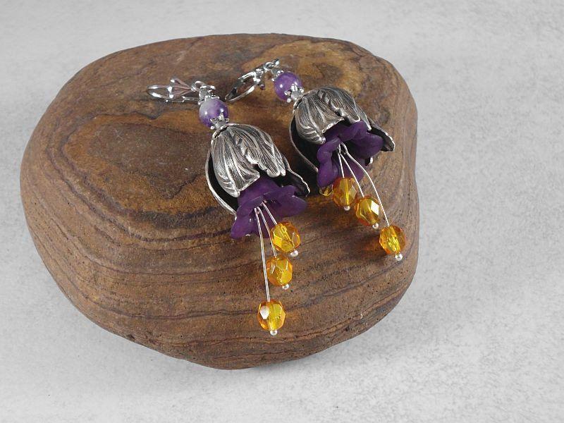 Ohrhänger - Elfenohrhänger Blütenohrhänger Amethyst - ein Designerstück von…