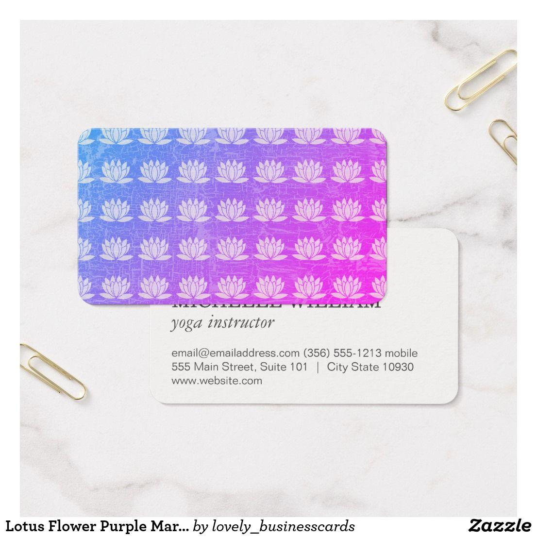 Lotus Flower Purple Marbled Ornate Pattern Business Card | Yoga ...