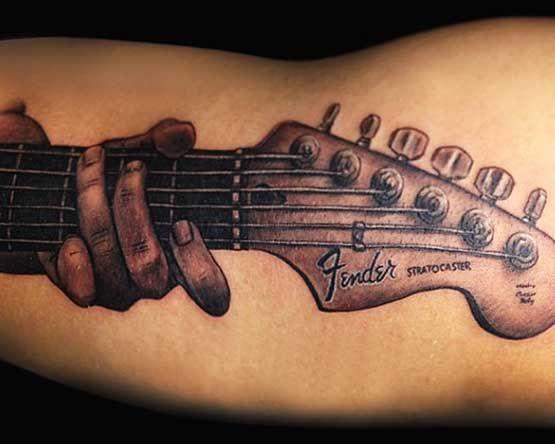 guitar music tattoo fender tattoo tattoos we love pinterest music tattoos tattoo and. Black Bedroom Furniture Sets. Home Design Ideas