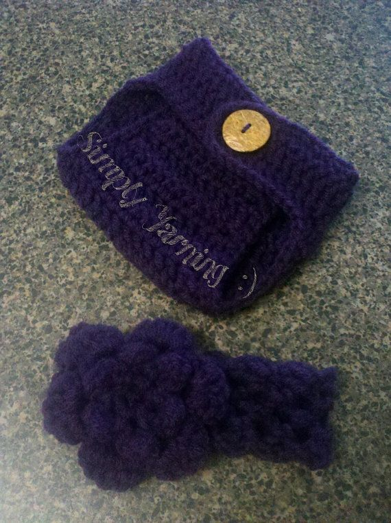 Newborn Diaper Cover and Headband Set. by SimplyYarning on Etsy, $12.00