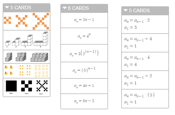 Sequences Card Sort • Activity Builder by Desmos | Geometry