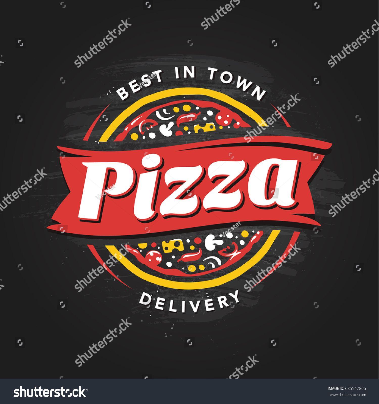 Pizzeria Vector Emblem on blackboard. Pizza logo template