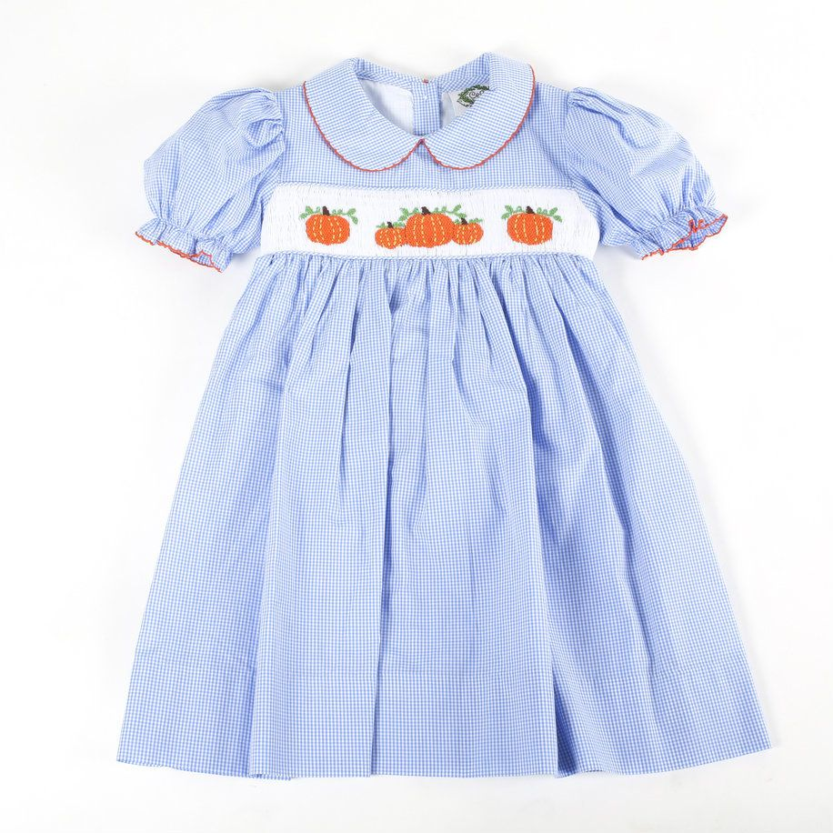 18123e29 Blue Gingham Smocked Pumpkin A-line Dress by Cecil and Lou | Fall ...