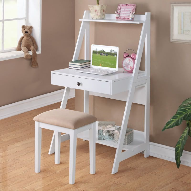 2 pc white student small writing desk and stool w large drawer storage shelves white dressing - Bedroom desk chair ...