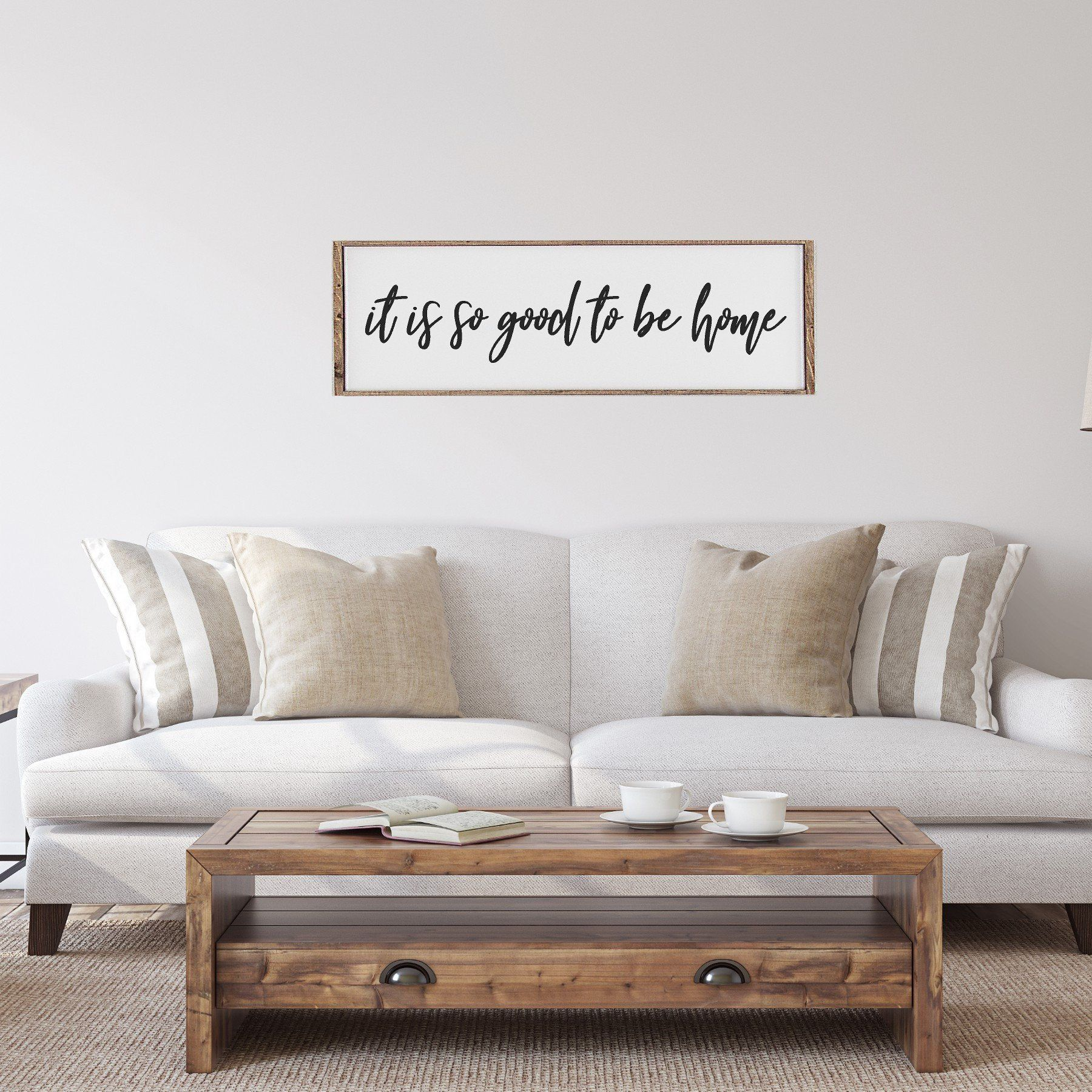 Framed wood sign  it is so good to be home  Large wood sign